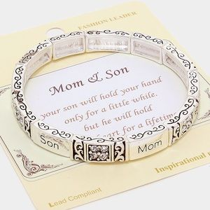 """Mom & Son"" Message Stretch Bracelet"